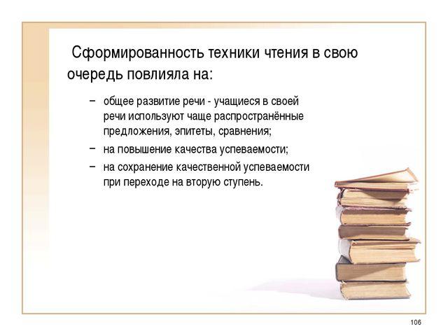 * Сформированность техники чтения в свою очередь повлияла на: общее развитие...