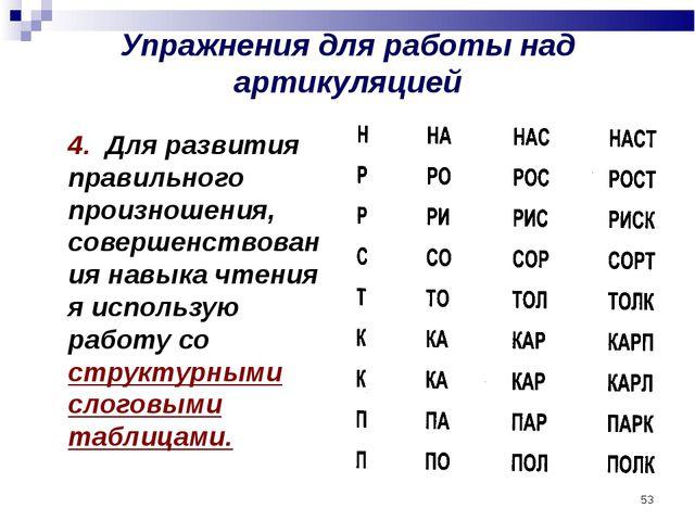 * Упражнения для работы над артикуляцией 4. Для развития правильного произно...