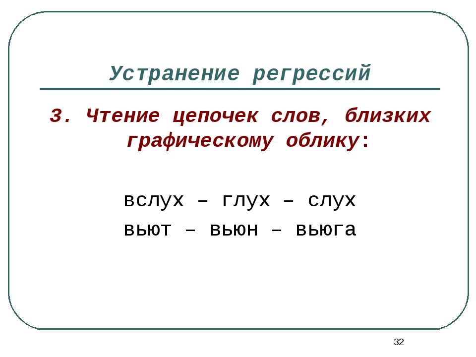 * Устранение регрессий 3. Чтение цепочек слов, близких графическому облику: в...