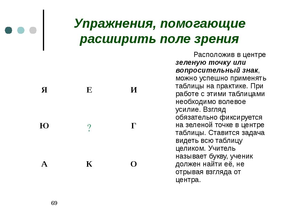 * Упражнения, помогающие расширить поле зрения Расположив в центре зеленую...