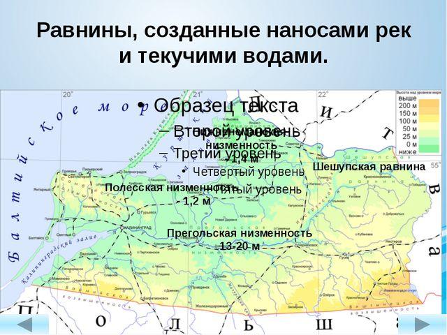 Равнины, созданные наносами рек и текучими водами. Прегольская низменность 13...