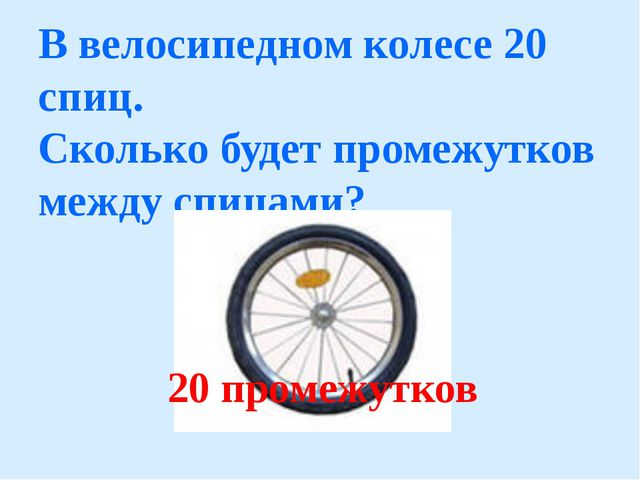 В велосипедном колесе 20 cпиц. Сколько будет промежутков между спицами? 20 пр...