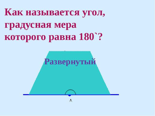 Как называется угол, градусная мера которого равна 180`? Развернутый