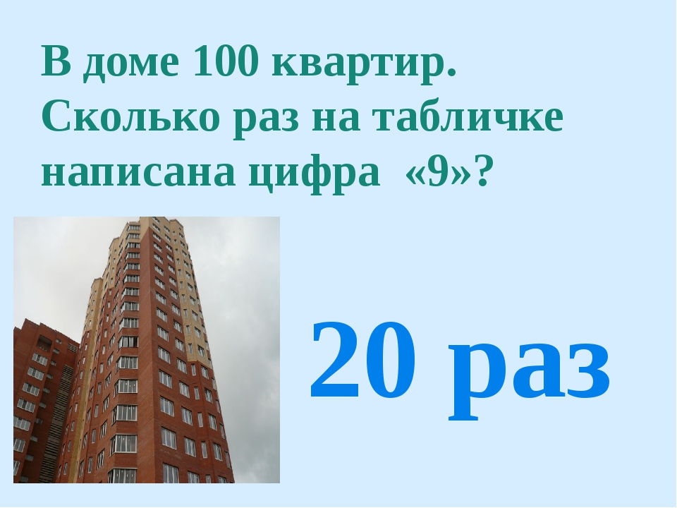 В доме 100 квартир. Сколько раз на табличке написана цифра «9»? 20 раз