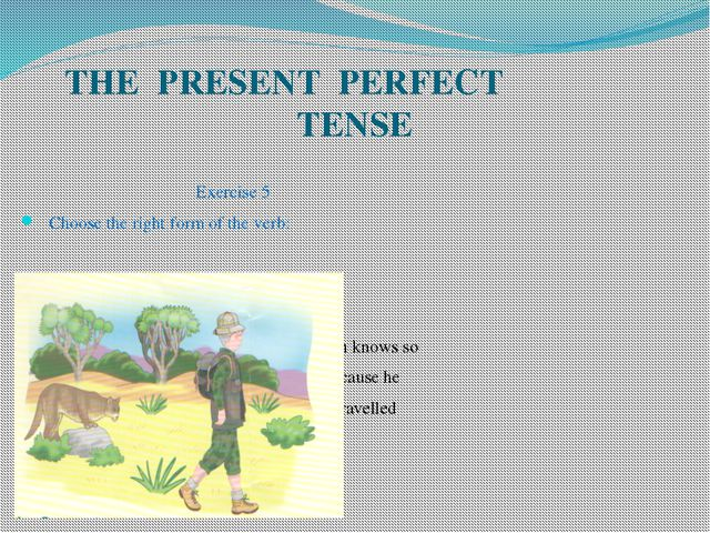 THE PRESENT PERFECT TENSE Exercise 5 Choose the right form of the verb: Mr. G...