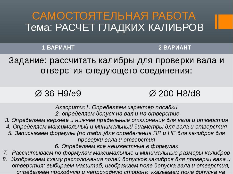 САМОСТОЯТЕЛЬНАЯ РАБОТА Тема: РАСЧЕТ ГЛАДКИХ КАЛИБРОВ 1 ВАРИАНТ 2 ВАРИАНТ Зада...
