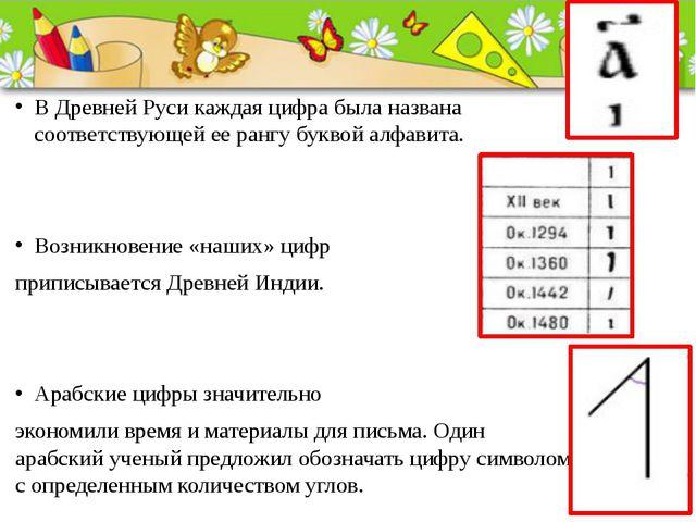 В Древней Руси каждая цифра была названа соответствующей ее рангу буквой алф...