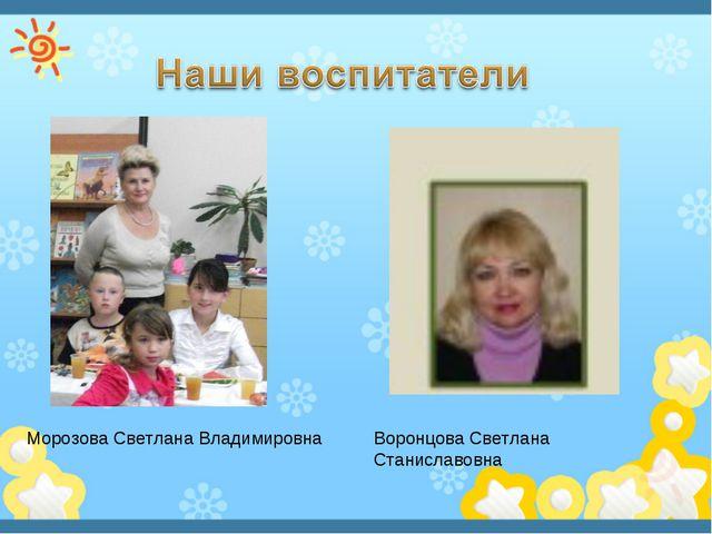 Морозова Светлана Владимировна Воронцова Светлана Станиславовна