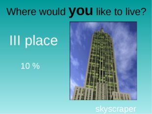 Where would you like to live? skyscraper III place 10 %