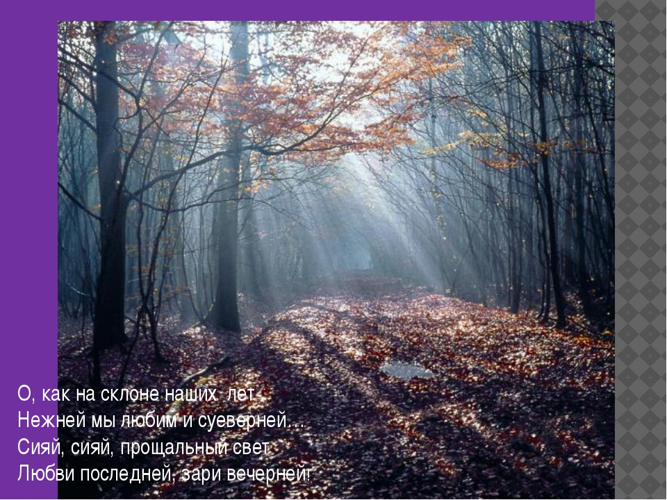 О, как на склоне наших лет Нежней мы любим и суеверней… Сияй, сияй, прощальны...