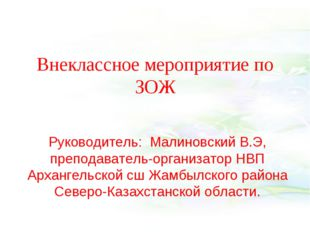 Внеклассное мероприятие по ЗОЖ Руководитель: Малиновский В.Э, преподаватель-о