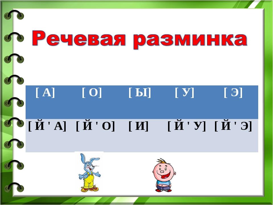 [ А] [ О] [ Ы] [ У] [ Э] [ Й ' А] [ Й ' О] [ И] [ Й ' У] [ Й...