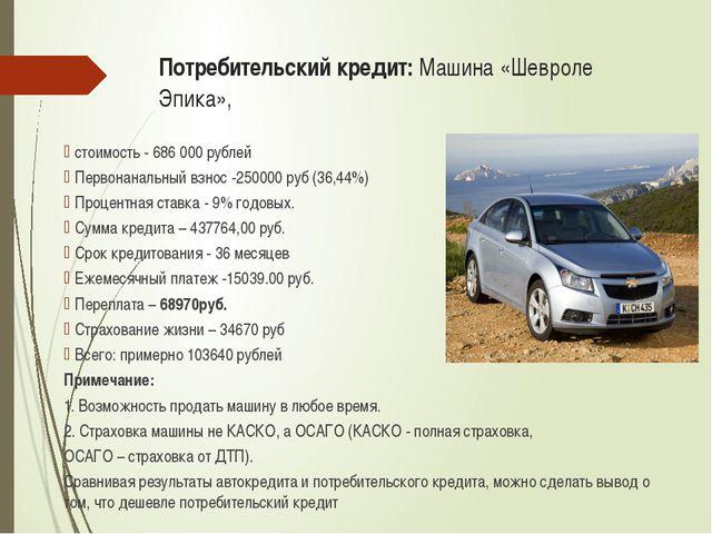 Потребительский кредит: Машина «Шевроле Эпика», стоимость - 686 000 рублей Пе...