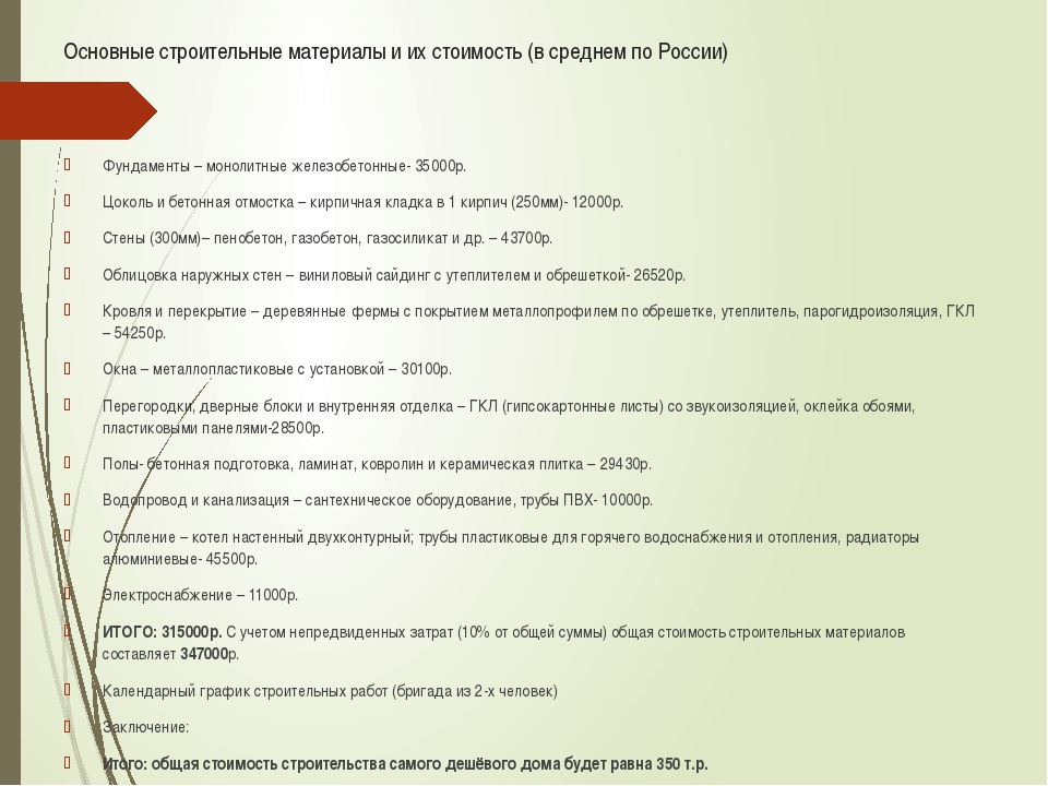 Основные строительные материалы и их стоимость (в среднем по России) Фундамен...