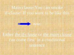 Main clause:You can smoke if-clause: If you want to be like this note: Either