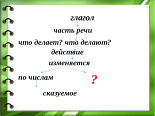 глагол часть речи что делает? что делают? действие изменяется по числам сказу