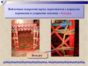 Войлочные покрытия юрты скрепляются с корпусом веревками и узорными лентами –