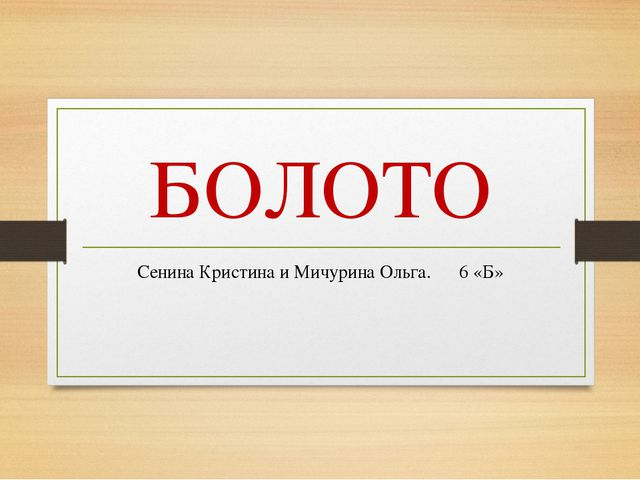 БОЛОТО Сенина Кристина и Мичурина Ольга. 6 «Б»