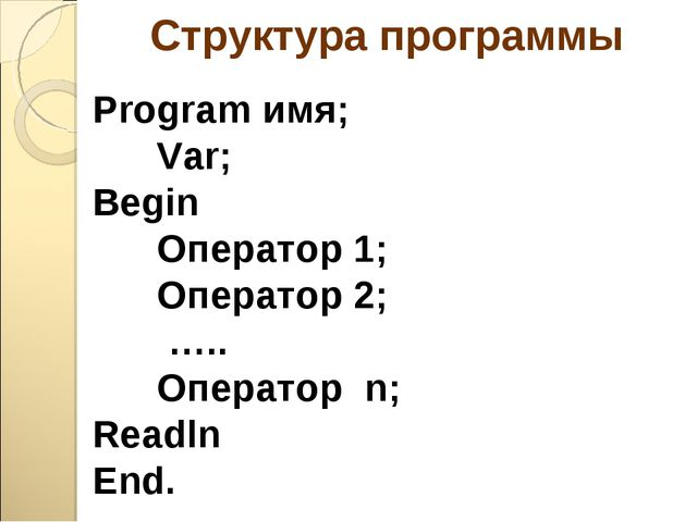Структура программы Program имя; Var; Begin Оператор 1; Оператор 2; ….. Опера...