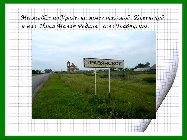 Мы живём на Урале, на замечательной Каменской земле. Наша Малая Родина - село...