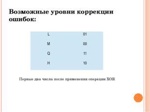 Возможные уровни коррекции ошибок: Первые два числа после применения операции