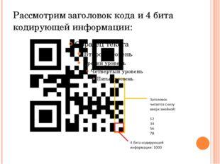 Рассмотрим заголовок кода и 4 бита кодирующей информации: