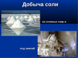 Добыча соли И из соленых озер и морей под землей
