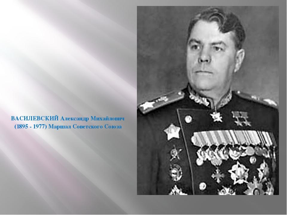 ВАСИЛЕВСКИЙАлександр Михайлович (1895 - 1977) Маршал Советского Союза