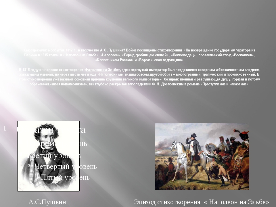 Как отразились события 1812 г . в творчестве А. С. Пушкина? Войне посвящены с...