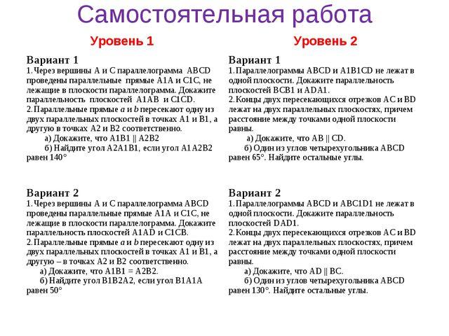 Самостоятельная работа Уровень 1 Уровень 2 Вариант 1 Через вершины А и С пар...