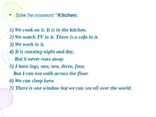 """Solve the crossword """"Kitchen. 1) We cook on it. It is in the kitchen. 2) We"""