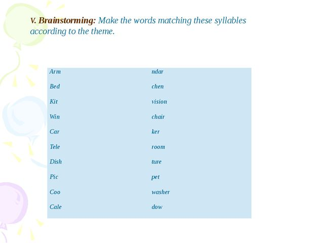 V. Brainstorming: Make the words matching these syllables according to the th...