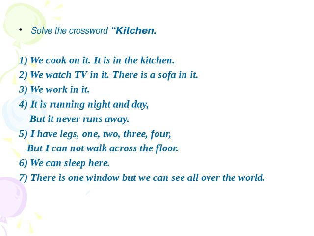 """Solve the crossword """"Kitchen. 1) We cook on it. It is in the kitchen. 2) We..."""