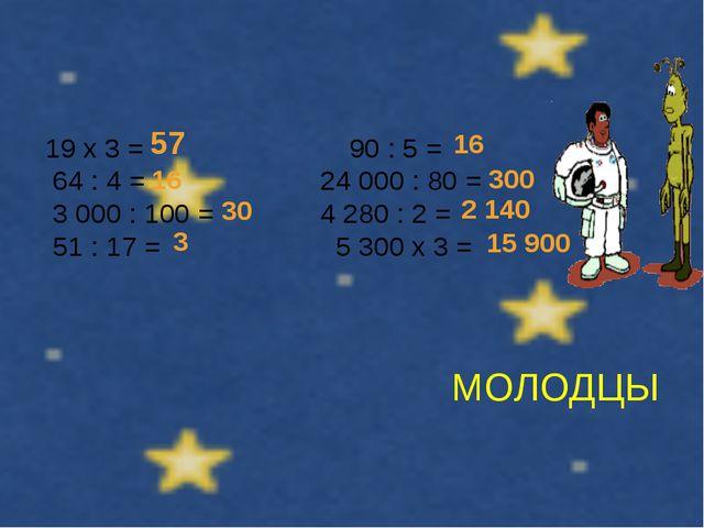 МОЛОДЦЫ 19 х 3 = 90 : 5 = 64 : 4 = 24 000 : 80 = 3 000 : 100 = 4 280 : 2 = 51...