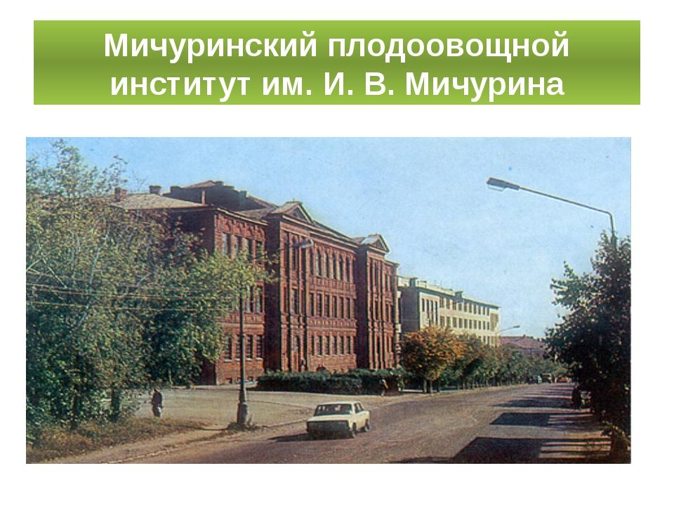 Мичуринский плодоовощной институт им. И. В. Мичурина