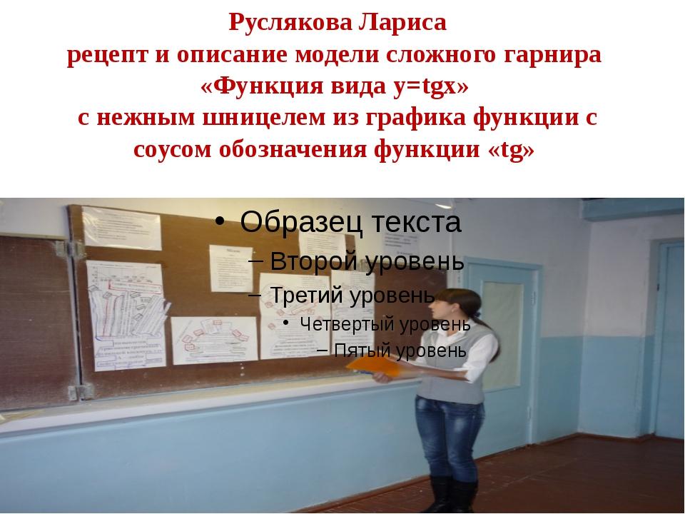 Руслякова Лариса рецепт и описание модели сложного гарнира «Функция вида y=tg...