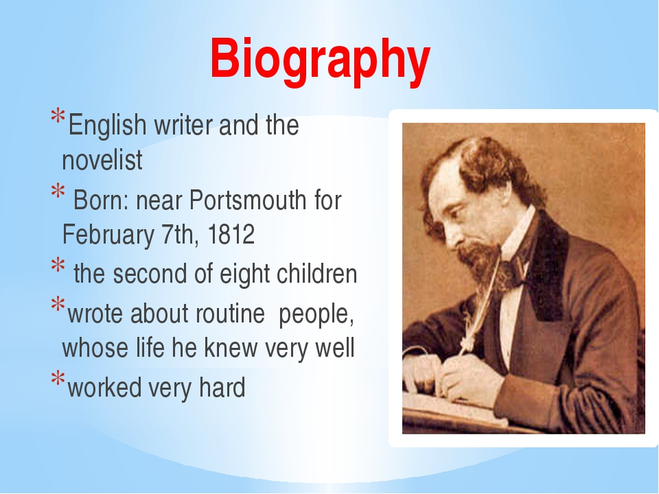 Writer biography