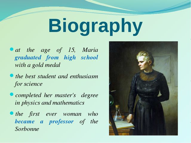 Biography at the age of 15, Maria graduated from high school with a gold meda...
