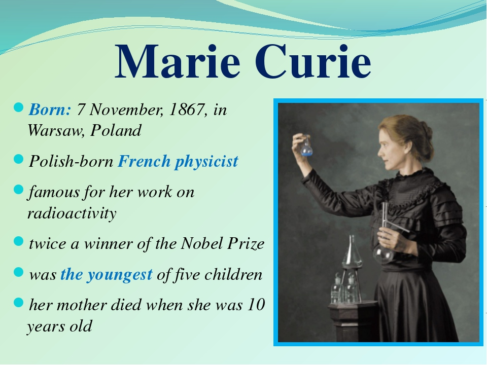 Born: 7 November, 1867, in Warsaw, Poland Polish-born French physicist famou...