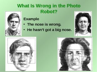 Example The nose is wrong. He hasn't got a big nose. What Is Wrong in the Pho