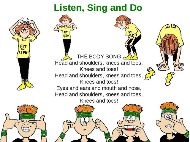 Listen, Sing and Do THE BODY SONG Head and shoulders, knees and toes, Knees a...