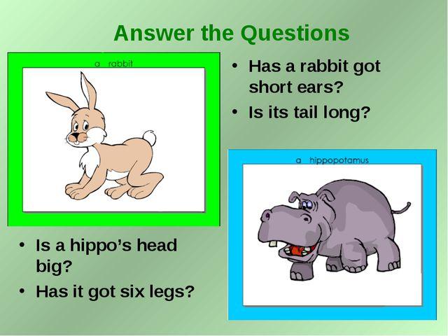 Is a hippo's head big? Has it got six legs? Has a rabbit got short ears? Is i...