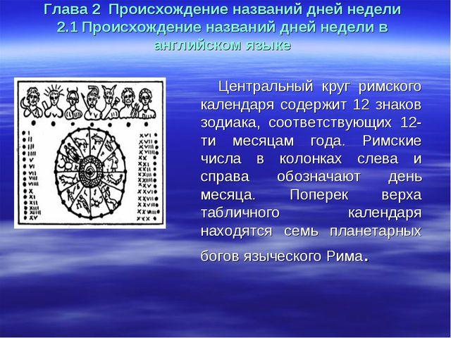 Глава 2 Происхождение названий дней недели 2.1 Происхождение названий дней не...