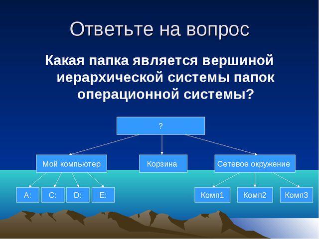 Ответьте на вопрос Какая папка является вершиной иерархической системы папок...