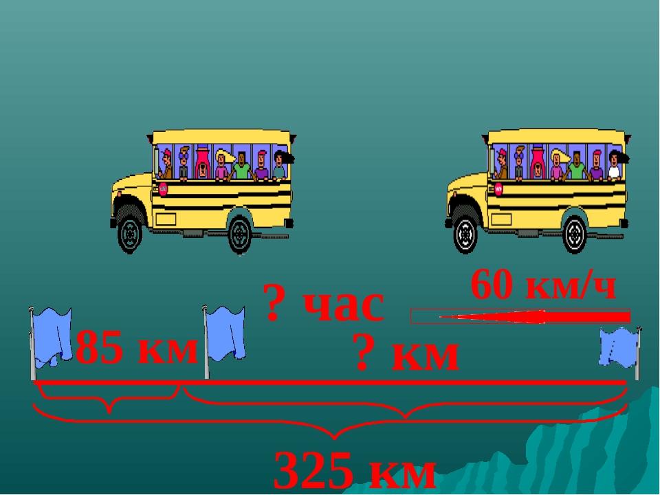 325 км 60 км/ч 85 км ? час ? км