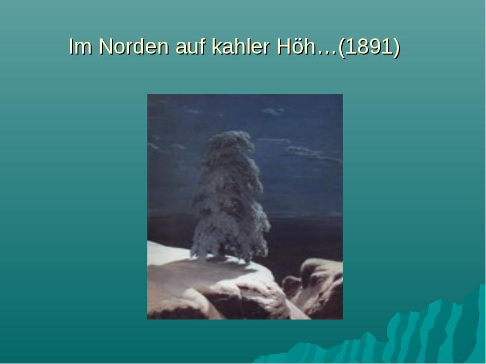 Im Norden auf kahler Höh…(1891)