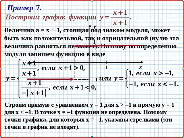 Величина а = х + 1, стоящая под знаком модуля, может быть как положительной,...