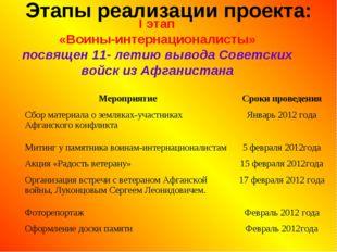 Этапы реализации проекта: I этап «Воины-интернационалисты» посвящен 11- летию