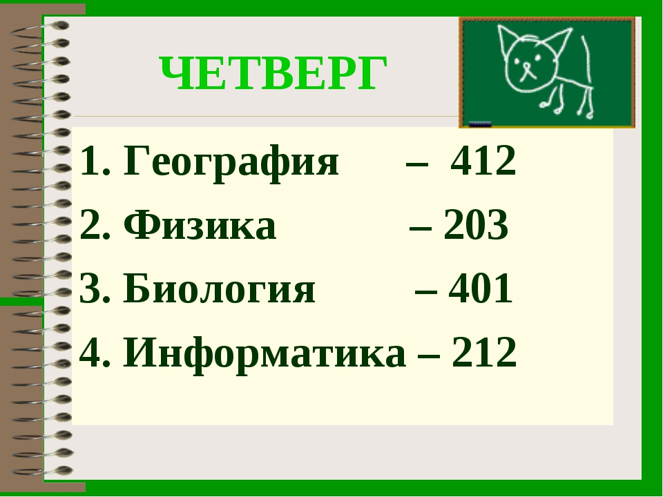 ЧЕТВЕРГ География – 412 Физика – 203 Биология – 401 Информатика – 212