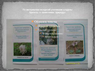 По материалам экскурсий учениками созданы буклеты о памятниках природы.